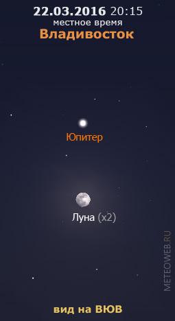 Растущая Луна и Юпитер на вечернем небе Владивостока 22 марта 2016 г.