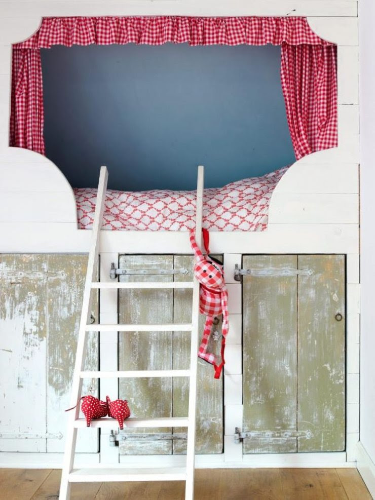 rustic girly loft bed with curtains and storage