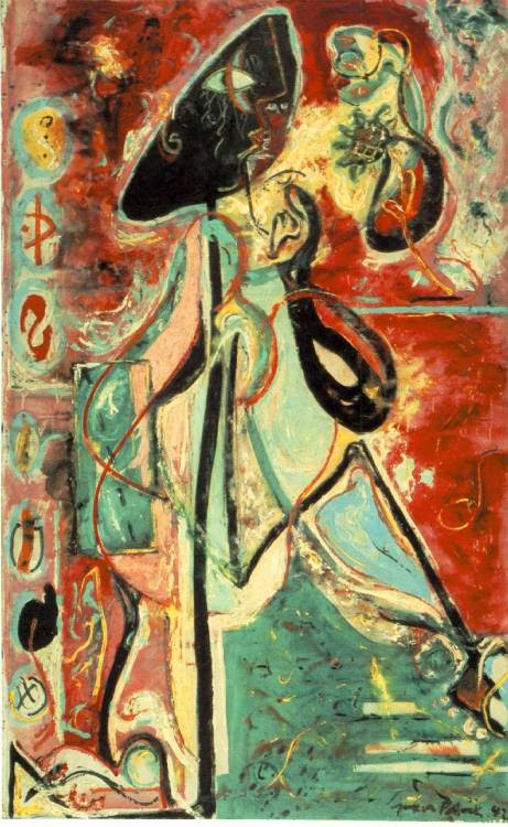 i12bent:  Today's spotlight on OF falls on Jackson Pollock, the No. 1 Abstract Expressionist in my book: Jan. 28, 1912 - 1956… Above, one of Pollock's mythographic canvases from before the drip phase: Moon Woman, 1942 - oil on canvas (Peggy Guggenheim Foundation, Venice, Italy)