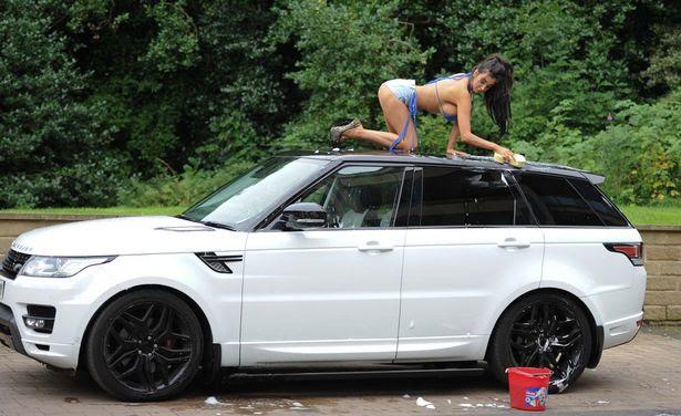 Chloe Khan in tiny bikini as she blows a kiss during steamy car wash