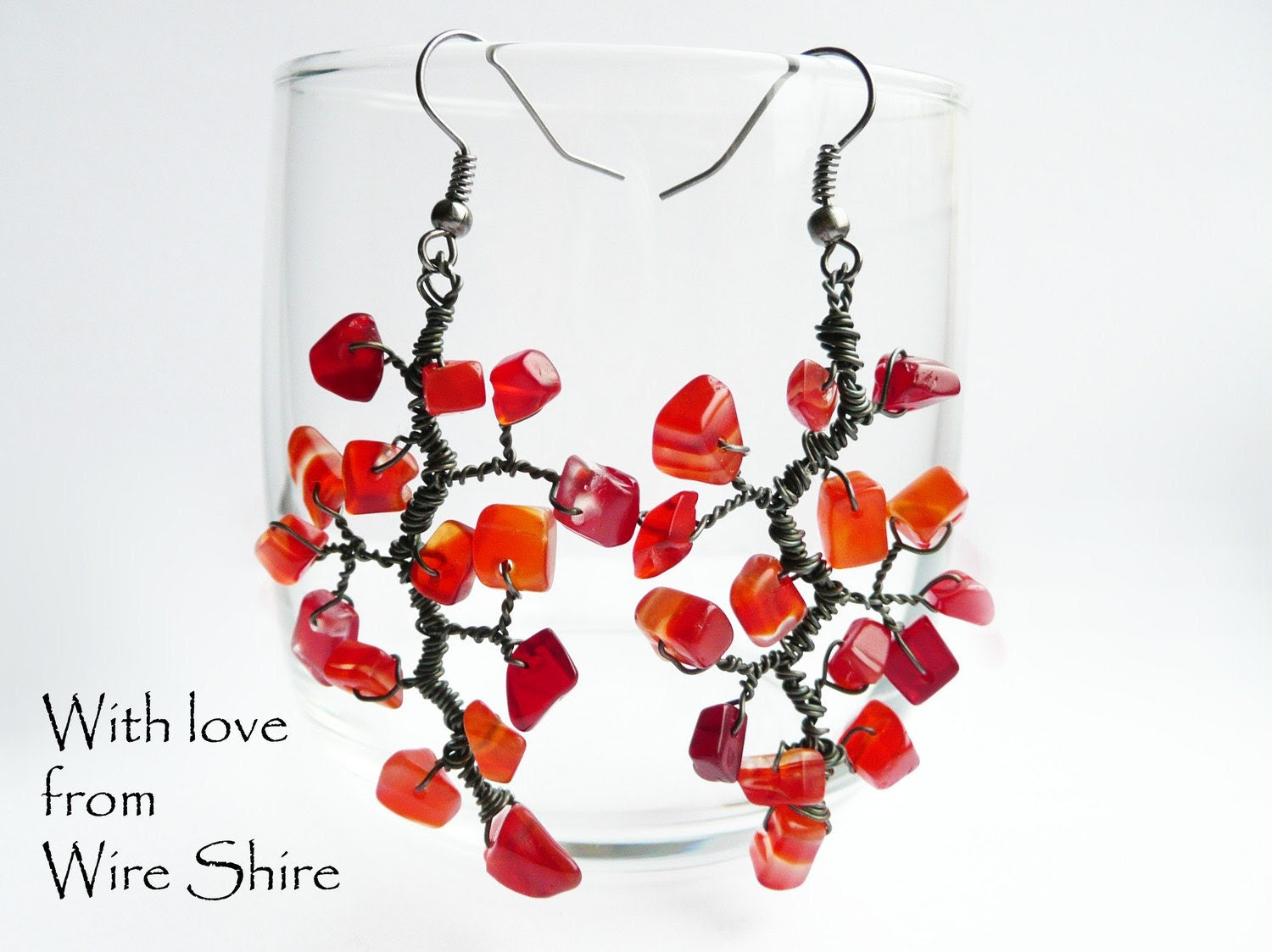 Bright Red Carnelian Tree Branch Wire Wrapped Earrings