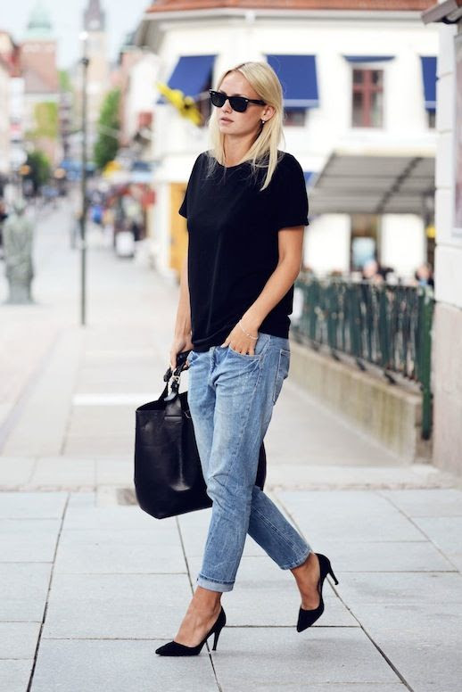 Le Fashion Blog Summer Style Uniform Sunglasses Black Tee Leather Tote Bag Boyfriend Jeans Heels Swedish Blogger Sara Lund Via Sarahlinneea Front photo Le-Fashion-Blog-Summer-Uniform-Black-Tee-Boyfriend-Jeans-Via-Sarahlinneea-Front.jpeg