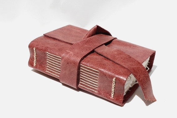 Handmade Leather Journal, Notebook or Sketchbook for the Writer or Artist - Rustic Wine - Handbound