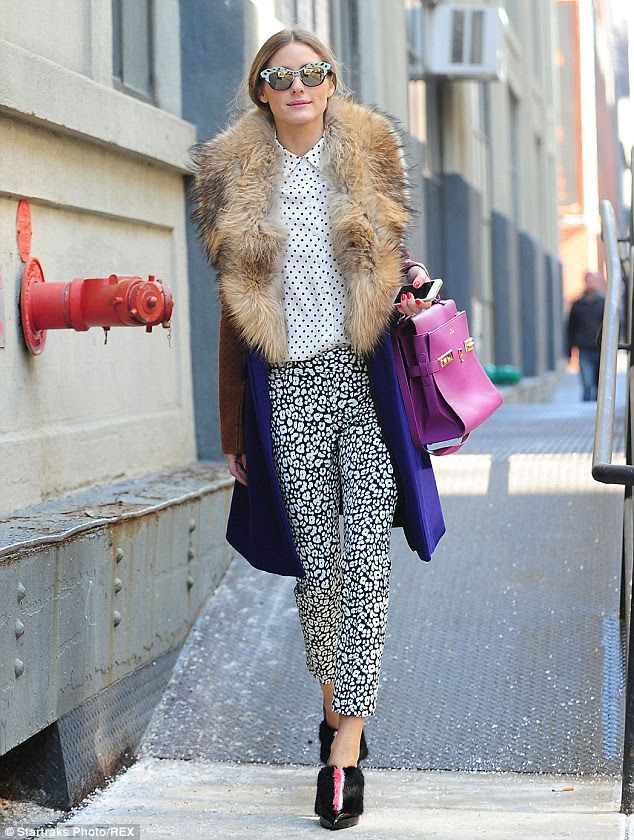 Trying to stand out? Olivia Palermo was seen out and about in New York during fashion week, wearing an unusually eclectic ensemble