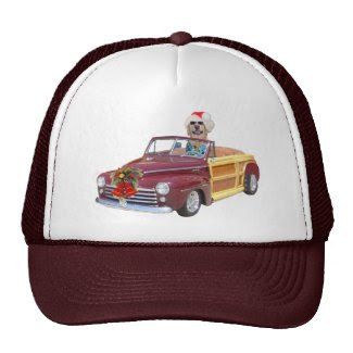 Christmas Lab in a Woodie Mesh Hats
