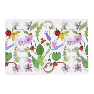 Floral Design on 2-Sided Placemats