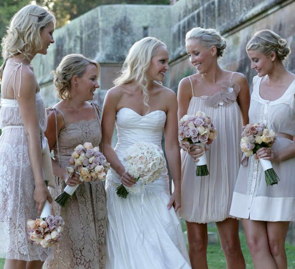Casual Soft Beige Mix and Matched Bridesmaids Dresses