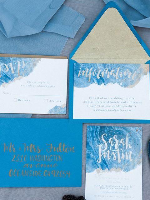 Eis-blau-Hochzeits-Einladung-suite mit swirly frostigen Drucke und Kalligraphie