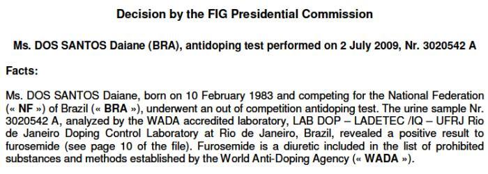 Relatório doping daiane