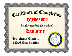 IPv6 Certification Badge for heybesane