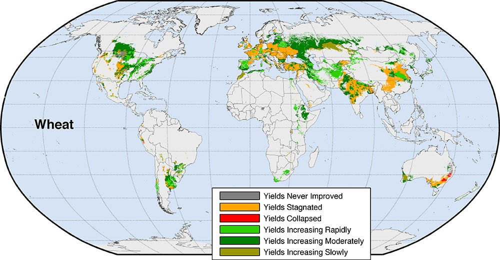 Um dos quatro mapas mostrando as mudanças projetadas em grandes colheitas.  (Universidade de Michigan)