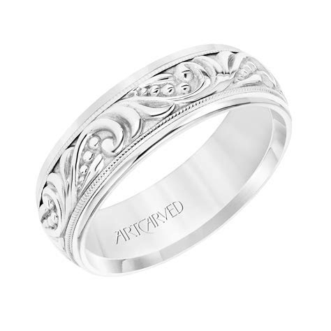 ArtCarved 7mm 14k White Gold Engraved Paisley Pattern Band