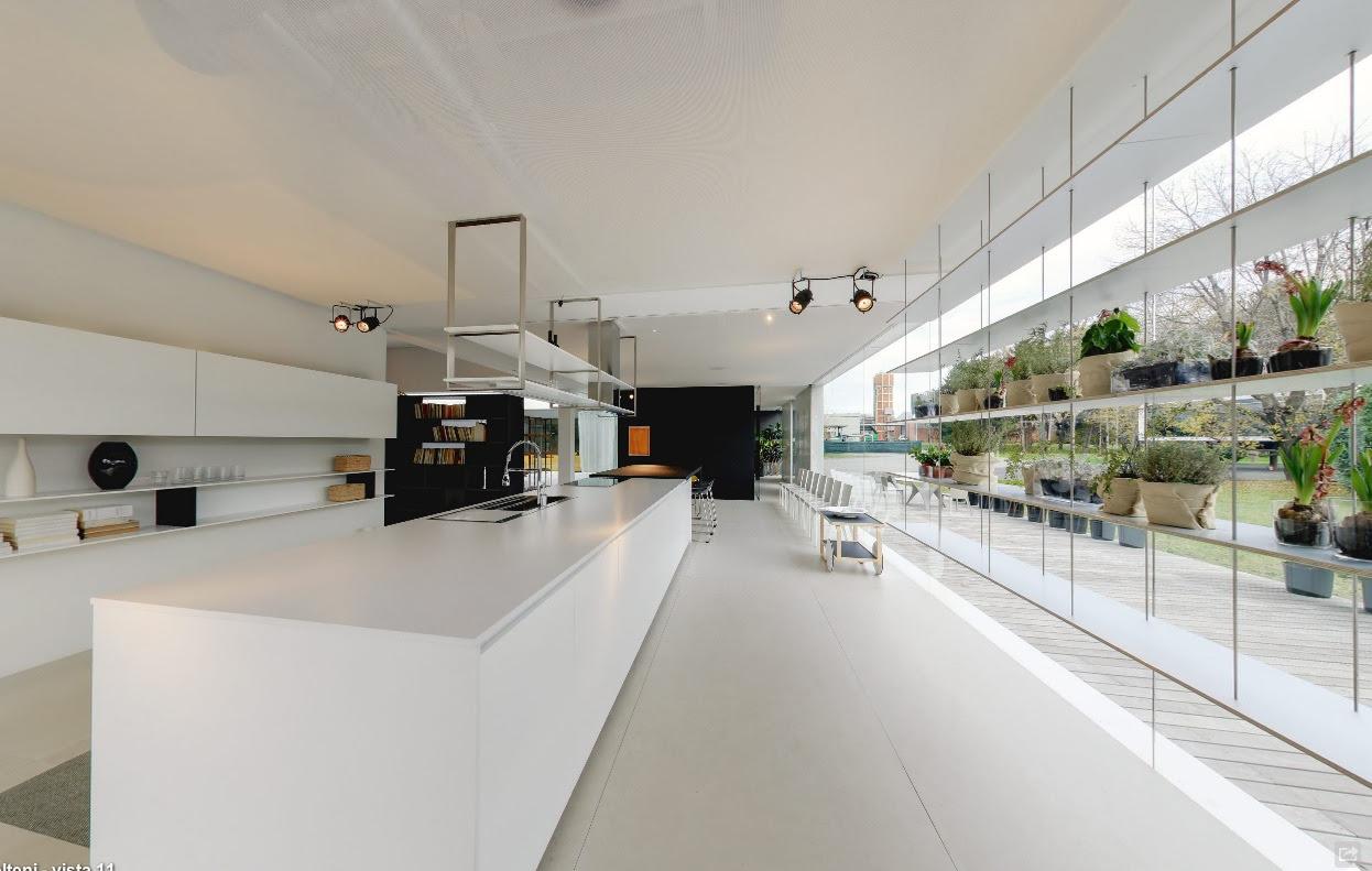 modern white kitchen island with suspended industrial ...