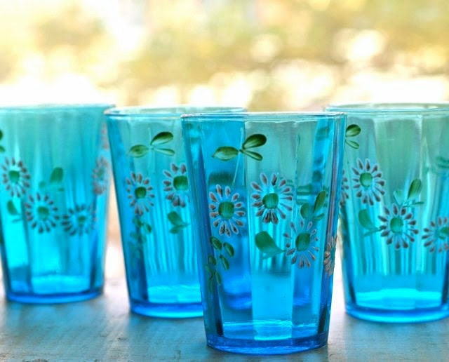 antique aqua blue glass enamel flowered tumblers