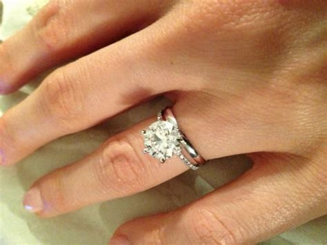 Pave Engagement Ring With Plain Wedding Band   Engagement