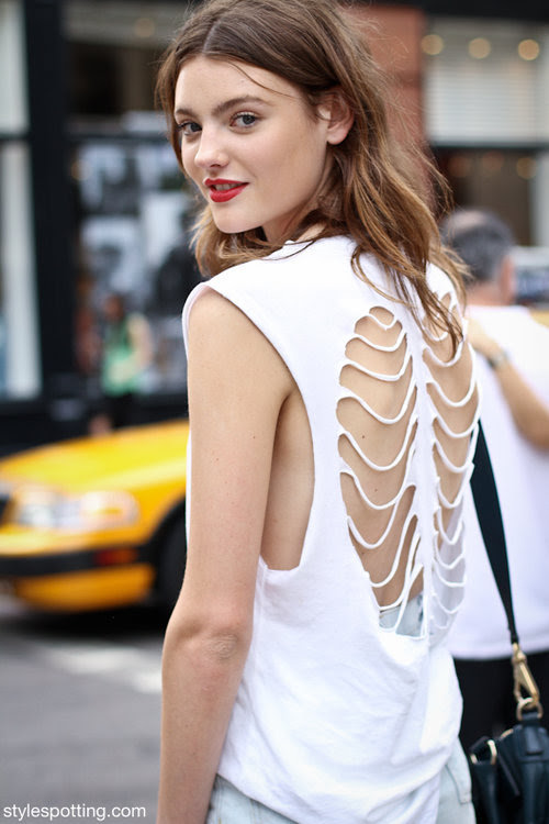 f-eisty:  Model Montana Cox in a Skeleton T-shirt || StyleSpotting™ on We Heart It. http://weheartit.com/entry/29459188