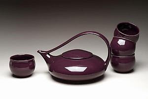 Eggplant Classic Tea - Ceramic Teapot & Cups - by Judith Weber