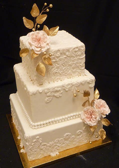 Elegant Gold and Lace Square Wedding Cake   Wedding Cakes