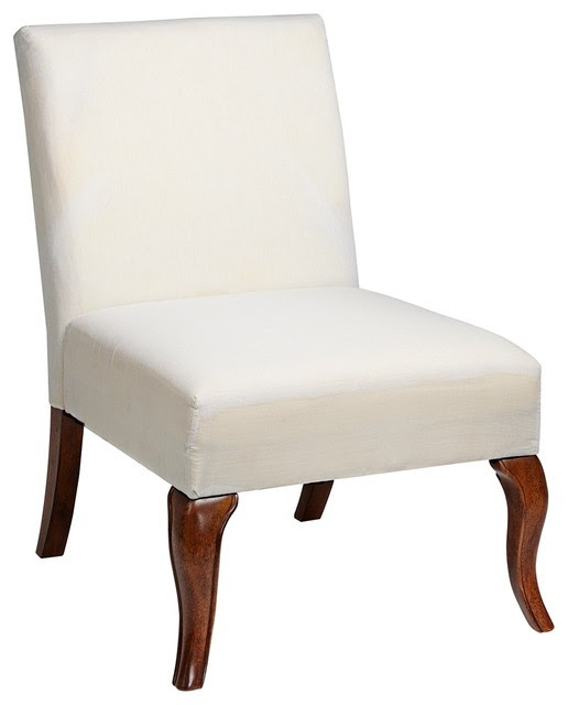 Traditional Muslin Covered Queen Anne Leg Armless Slipper Chair ...