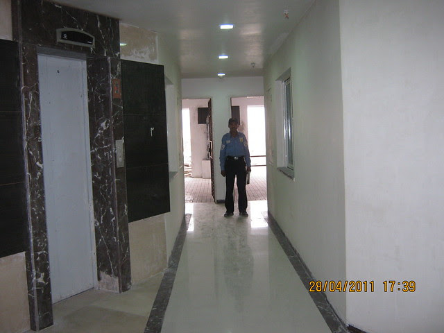 Wide passages in the lobby of  Sangria Towers at Megapolis Hinjewadi Phase 3, Pune