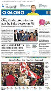Capa do Jornal O Globo Edição 2020-02-27