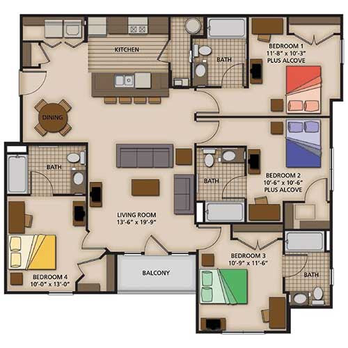 2, 3 and 4 Bedroom Apartment Floor Plans | Capstone Quarters