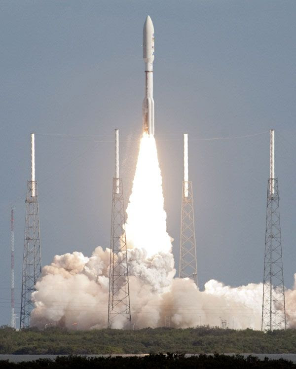 The Atlas V rocket carrying the Curiosity Mars rover is launched from Cape Canaveral Air Force Station in Florida on November 26, 2011.