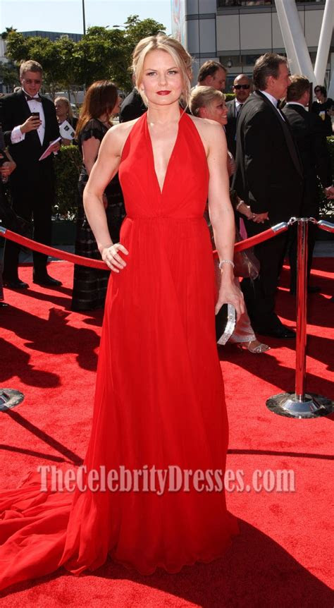 jennifer morrison red chiffon prom dress  creative