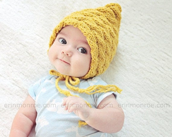 FREE SHIPPING-Practical bonnet hat,newborn baby-mustard-Photography prop.