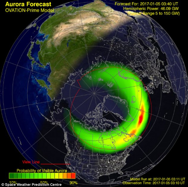Parts of the world lit up with the spectacular glow of the Northern Lights. An increase in solar activity means there is a greater chance of seeing the Aurora Borealis in Canada, northern US, Scandinavia, Scotland and even England