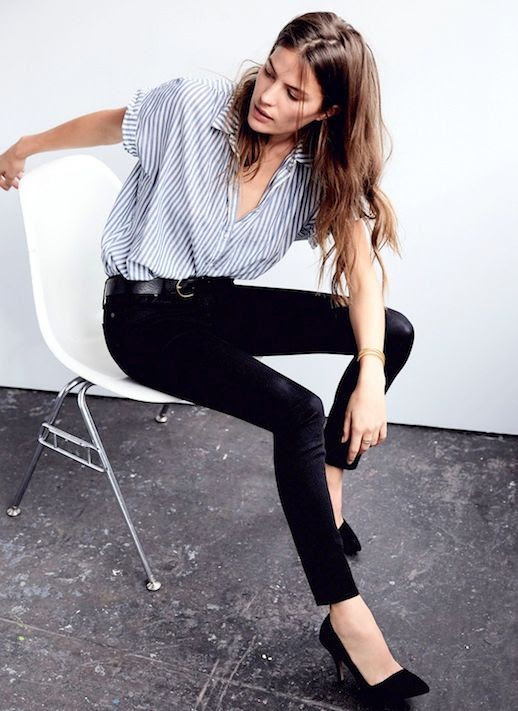 Le Fashion Blog Short Sleeve Striped Button Down Shirt Leather Belt Black Skinny Jeans Suede Pumps Via Madewell