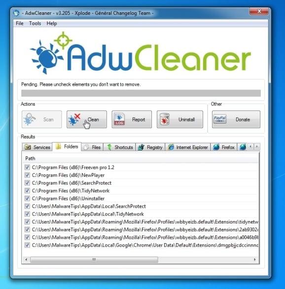 Remove Trovi.com virus with AdwCleaner