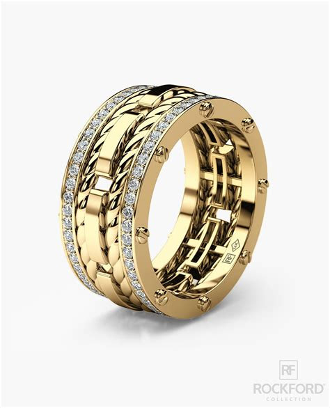 ropes mens gold wedding band  diamonds rockford