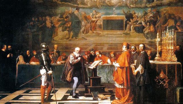 Cuadro de Robert-Fleury en el que aparece Galileo ante el tribunal de la Inquisición.   E.M.