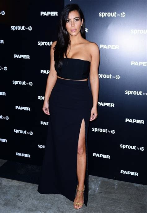 Kim Kardashian Black Two Piece Thigh High Slit Evening