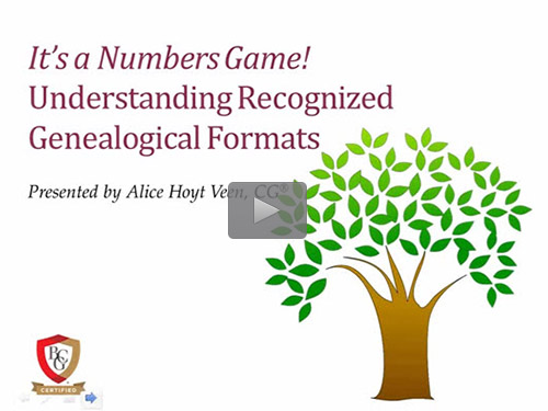 It's a Numbers Game! Understanding Recognized Genealogical Formats - free BCG webinar by Alice Hoyt Veen, CG now online for limited time