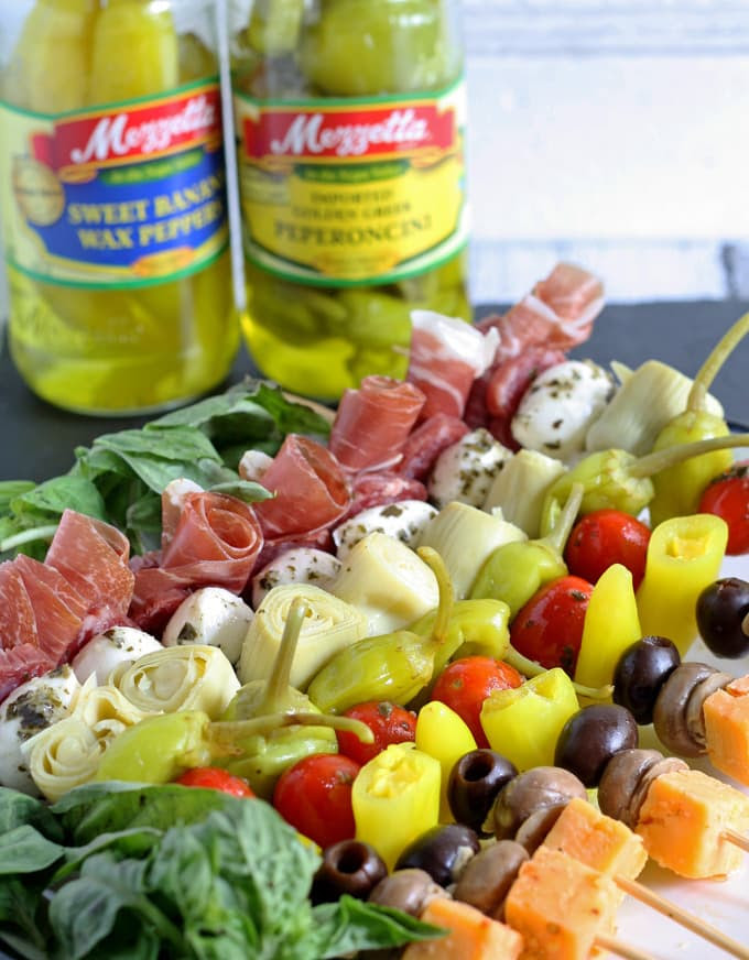 Antipasto Skewers #beattheheat #mezzetta #appetizer