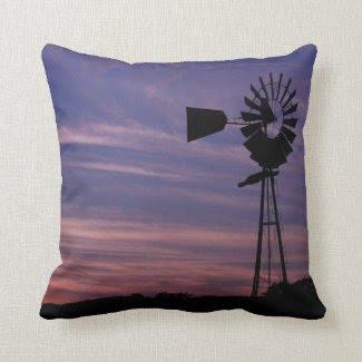 Windmill in Castoro Vineyard at Sunset Pillows