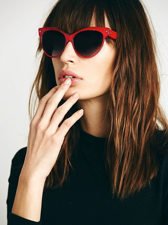 Le Fashion Blog French Girl Chic Bangs Hair Inspiration Free People Red Maya Cateye Sunglasses Bare Nails manicure photo Le-Fashion-Blog-French-Girl-Chic-Bangs-Hair-Inspiration-Free-People-Red-Maya-Cateye-Sunglasses.jpg