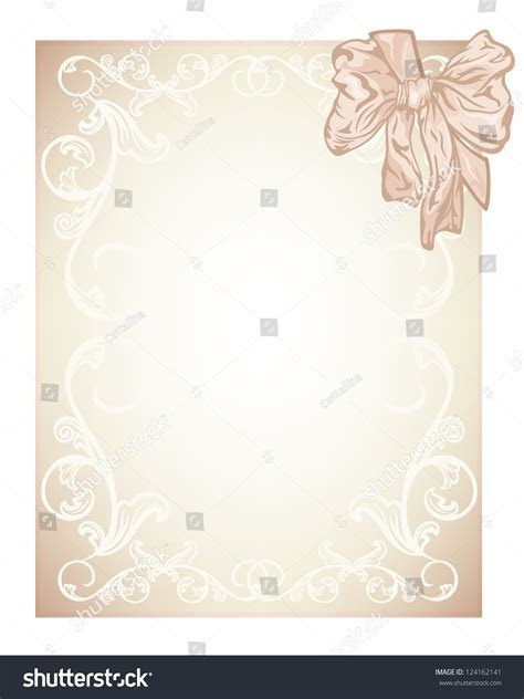 Elegant Beige Blank Wedding Invitation Certificate Stock