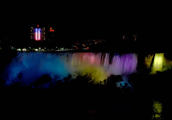 The American Falls illuminated