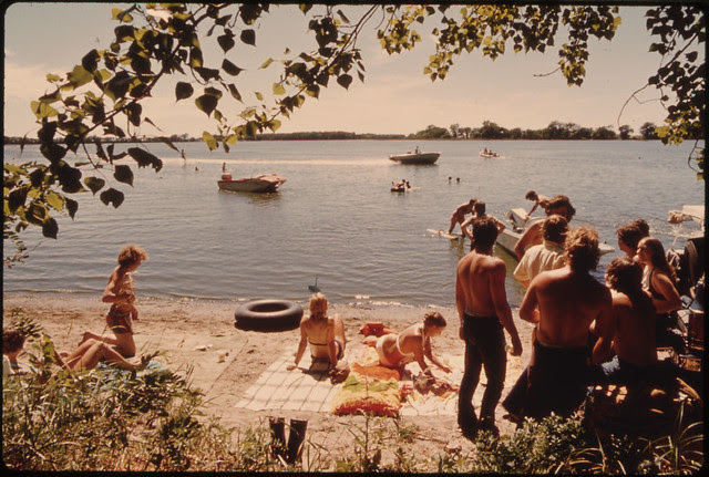 Young People of New Ulm, Minnesota, Spending a Sunday Swimming and Boating at Clear Lake Three Miles West of Town...