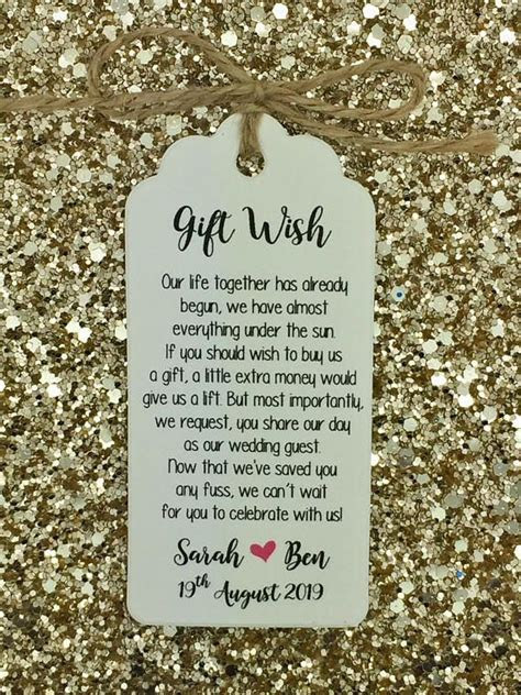 Personalised Wedding Gift wish Poem Tags with a string