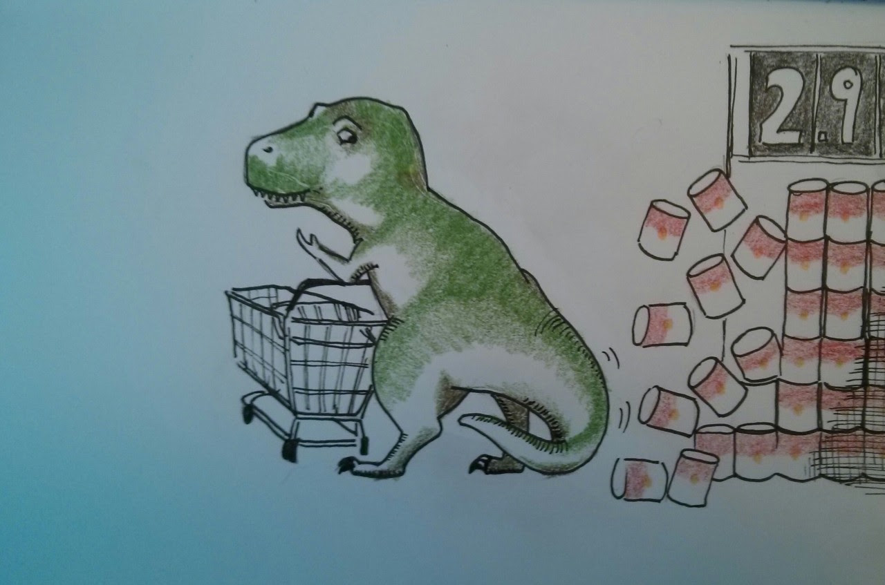 http://hazeyk.tumblr.com/post/67269601305/daily-draw-54-t-rex-goes-shopping