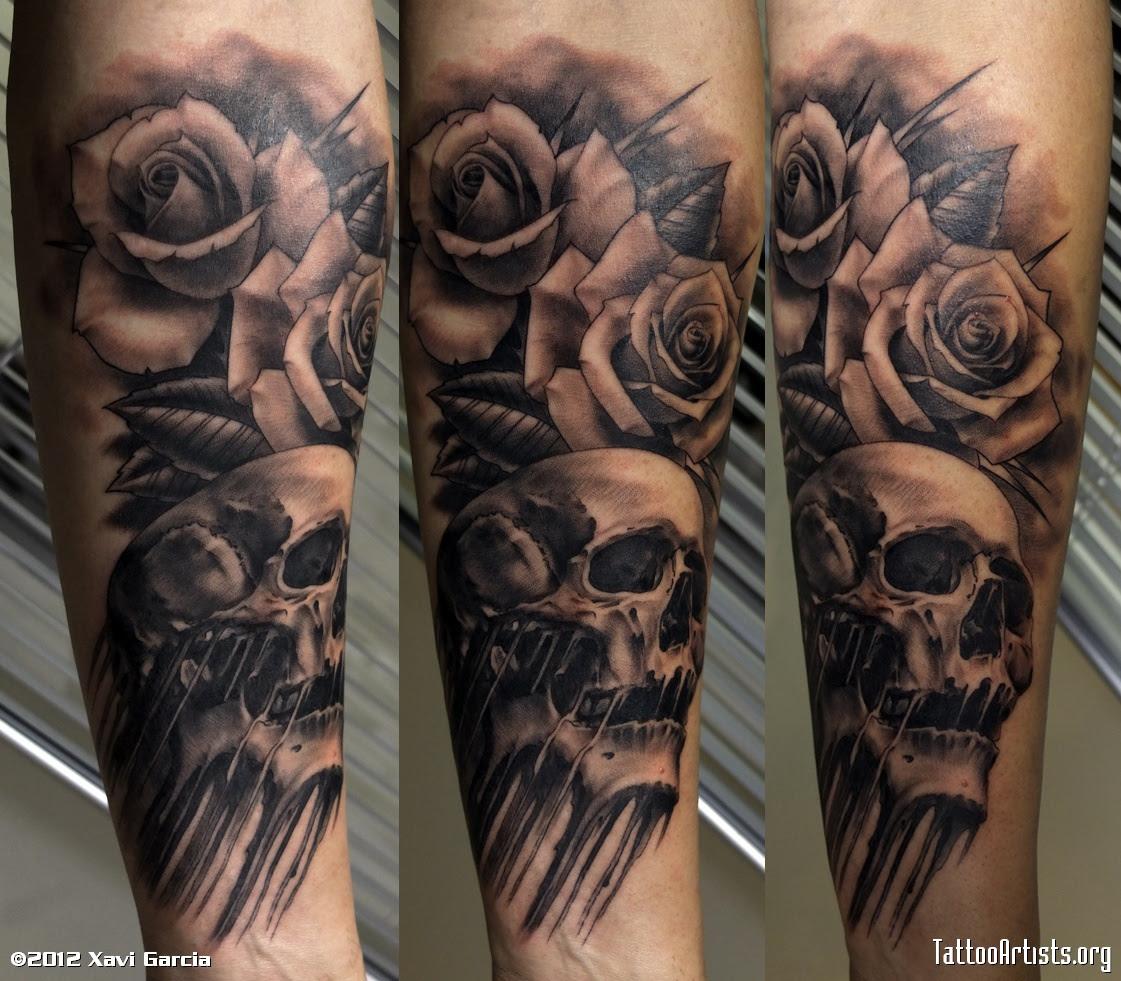 Black Rose Flowers And Skull Tattoo On Back Body