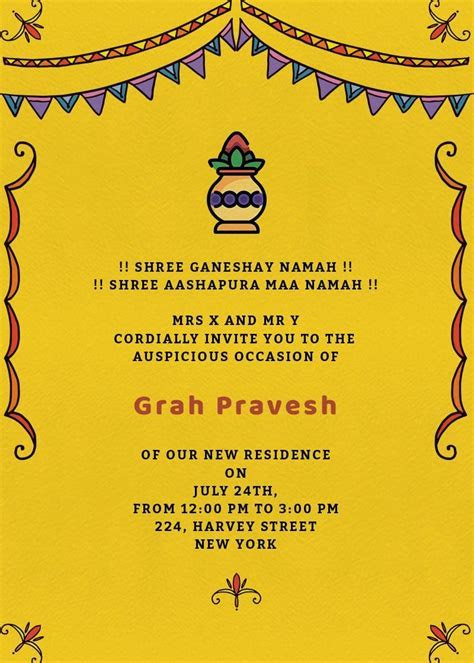 Grah Pravesh Colors Invitation   Invites   card in 2019