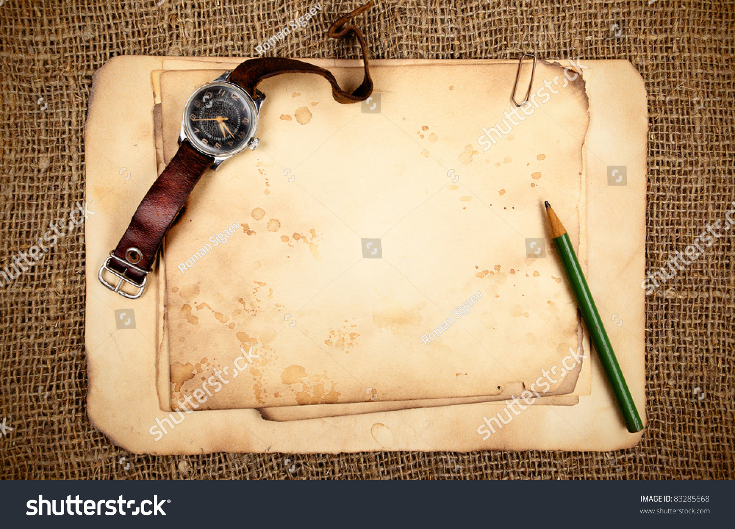 Stilllife Old Blank Papers Wristwatch Stock Photo 83285668 ...