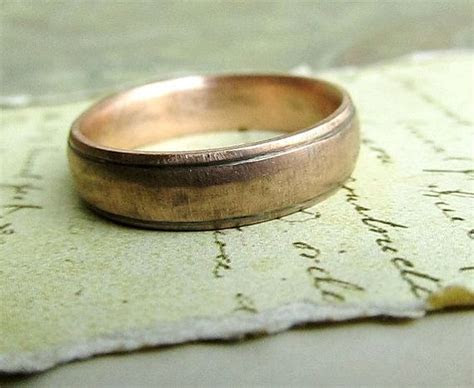 Gold Wedding Band , Rustic Men's Ring, 14k Rose Gold