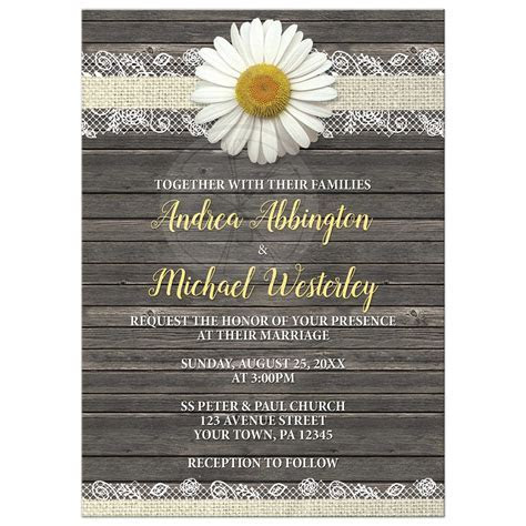 Wedding Invitations   Daisy Burlap and Lace Wood