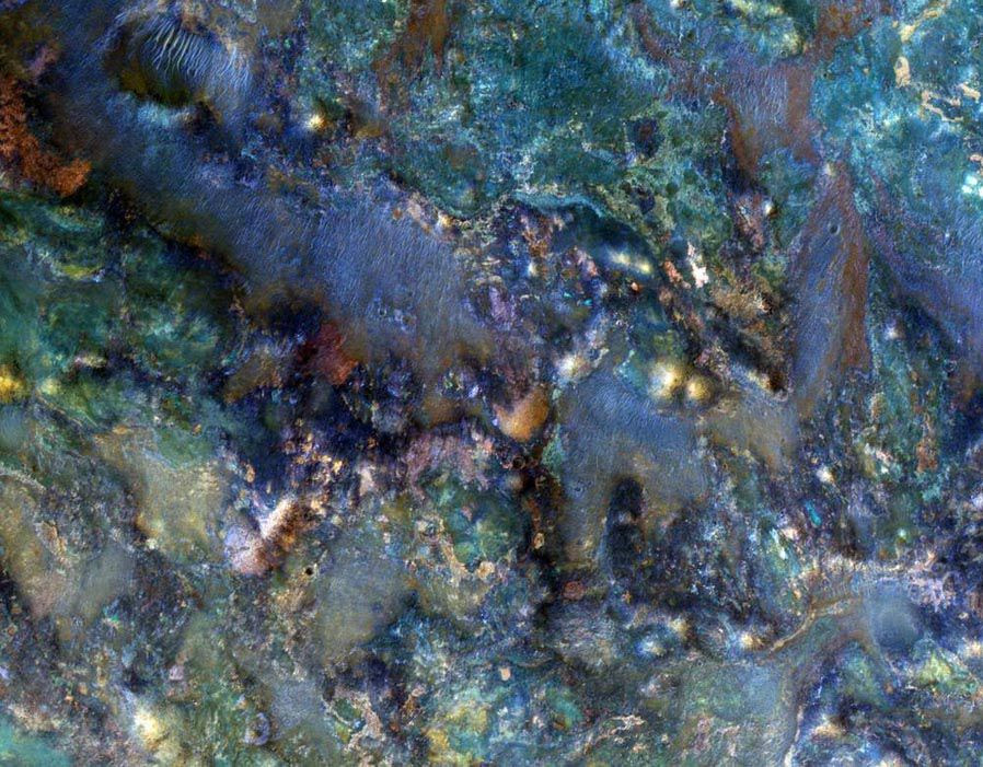 This enhanced-color image from March 2012 of a region of Mars near Nili Fossae shows part of the ejecta from an impact crater and contains some of the best exposures of ancient bedrock on Mars